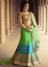 Wedding Wear Green Net Zarkan Work Lehenga Choli