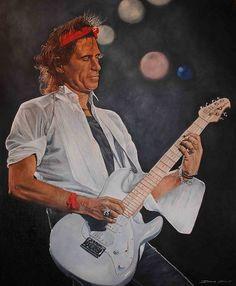 Acrylic painting of Keith Richards