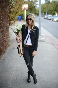 Club Monaco Jacket (similar here), Illesteva Sunglasses, T by Alexander Wang Shirt, Rag & Bone Jeans, Madewell Belt, Coach Bag, Matisse Boots