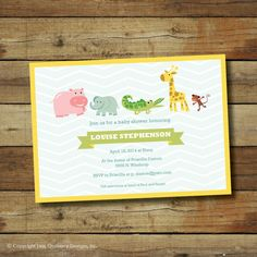 Animal baby shower invitation jungle animals