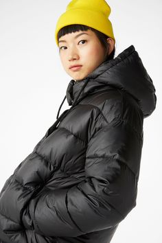 A gorgeous little puffer jacket with a classic shape and colour. Detachable zippered hood and slant pockets with snap closure. In a size small the chest width is 120 cm and the length is 62 cm. The model is 177 cm and is wearing a size small. Puffer Jackets, Winter Jackets, Monki, Wool Coat, World Of Fashion, Hoods, Bomber Jacket, Style Inspiration, My Style