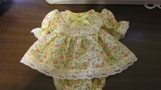 """Yellow Floral Print Dress/bloomers, fits 8"""" L'il Cutie Berenguer babies #KindredHeartsDesigns"""