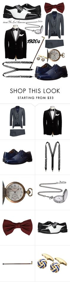 """1920 Gatsby Men's Addition"" by iamyoloamour on Polyvore featuring Stacy Adams, Longines, Lanvin, men's fashion and menswear"