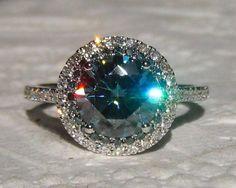 Blue Moissanite Engagement Ring Blue Moissanite by JuliaBJewelry