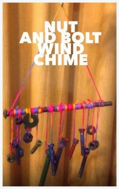 Nut and Bolt Wind Chime for Father's Day. Great Craft for preschool aged and older children to make. By www.mishmasharts.blogspot.com