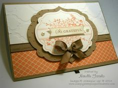 Stamps: Apothecary Art Paper: Crumb Cake, Whisper White, In Color 2013-2015 dsp Stack Inks: Crisp Cantaloupe, Crumb Cake Accessories: Labels Collection Framelits, Modern Mosaic & Perfect Polks Dots Embossing Folders, Pearls, Soft Suede Taffeta Ribbon, Dimensionals