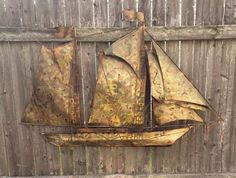 Vintage Jere Style Brass Sail Boat Wall Sculpture Mid Century Brutalist Art