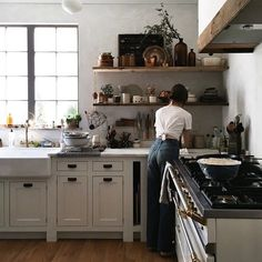 "oldfarmhouse: "" In the Kitchen with~ Beth Kirby "" farmhouse kitchen Kitchen Dining, Kitchen Decor, Kitchen Cabinets, Kitchen Ideas, Pantry Ideas, Kitchen Designs, Dining Room, Beth Kirby Kitchen, Bohemian Kitchen"