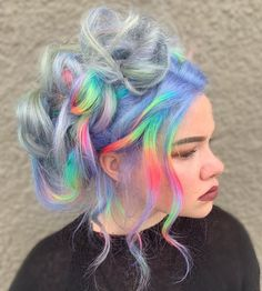 Rainbow Twist up 🌈 Yesterday I post some of the trends from when I first started doing hair. Sometimes using those techniques and twitching… Pretty Hair Color, Beautiful Hair Color, Style Kawaii, Pelo Multicolor, Aesthetic Hair, Hair Dye Colors, Unicorn Hair, Dye My Hair, Pastel Hair