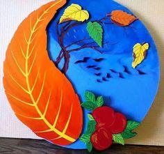 Sonbahar Autumn Crafts, Autumn Art, Nature Crafts, Diy For Kids, Crafts For Kids, Arts And Crafts, Creative Activities, Art Activities, Preschool Classroom Decor