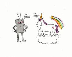 Robot and unicorn converse