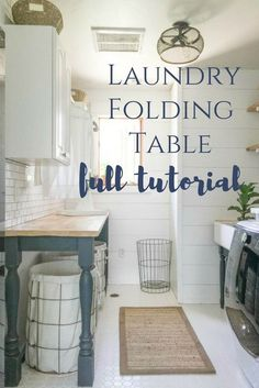 2 toned cabinets in laundry room?  Love this laundry folding table as well!  And handmade salvaged butcher block countertops!