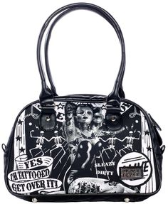 """LIQUORBRAND GET OVER IT SMALL BOWLING BAG  Alive! Here! On your very on bag from Liquorbrand is the lovely tattooed lady of the sideshow! This soft nylon bowler purse features a tattooed lady, dancing skeletons & banners that read """"Yes I'm Tattooed... Get Over it!"""" on both sides. Bottom & sides feature faux leather quilted panels, metal feet & zip top.  $35.00"""