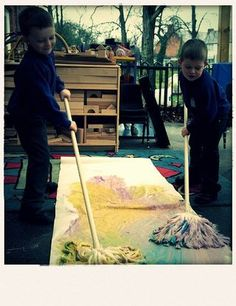 mop painting - great for upper body work #abcdoes #eyfs