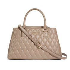 VERA BRADLEY: New in September: Quilted Leather Emma Satchel in Taupe. I really want this in either gray or blush. So gorgeous!