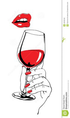 royalty-free Talking red lips and glass of wine holding hand as retro party poster design element stock vector 64965961 from Depositphotos collection of millions of premium high-resolution stock photos, vector images and illustrations. Arte Pop, Simple Illustration, Art Party Foods, Wine Glass Drawing, Deco Cinema, Art Party Decorations, Art Party Invitations, Arte Fashion, Wine Painting