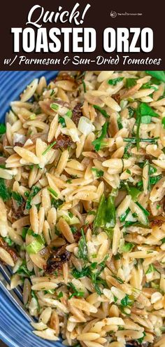 Prepared Mediterranean-style, this nutty Toasted Orzo with Garlic, Parmesan and Sundried Tomatoes will steal the show next to your favorite protein. You can even serve it as a quick and easy vegetarian meal on its own!