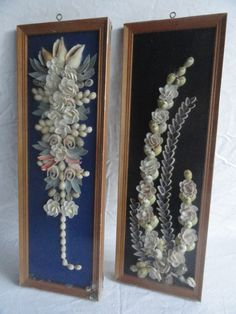 Pair of two vintage seashell flowers shadow boxes.