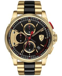Scuderia Ferrari Men's Chronograph Formula Italia S Gold-Tone and Black Ion-Plated Stainless Steel Bracelet Watch 46mm 0830316