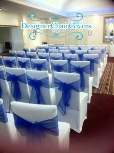 Add a simple touch of elegance with wrapping a bow around chairs with chiffon fabric.