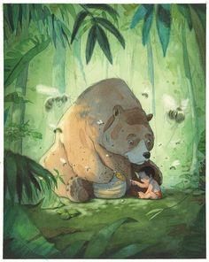 "Quentin Gréban ""The Jungle Book"". Illustration Jungle, Character Illustration, Watercolor Illustration, Art D'ours, Art Mignon, Animation, Bear Art, Animated Cartoons, Disney Art"