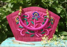 Pretty Pink Floral Bag | Indian Embroidered Boho Handbag | Feminine Fuchsia Flower Purse Handbag | Pink Bollywood Bag | Pink Gypsy Purse |