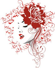 Love the lips and eyes and how they incorporate a rose in the corner