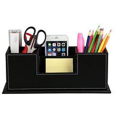 HOMETEK™ PU Leather Desktop Storage Box 4 Compartment Desk Organizer Card/Pen/Pencil/Mobile Phone/Remote Controller/Cosmetics Office Supplies Holder Collection Desktop Organizer (Black) HOMETEK http://www.amazon.com/dp/B00UKNRLG8/ref=cm_sw_r_pi_dp_WUICwb1CVY2GX