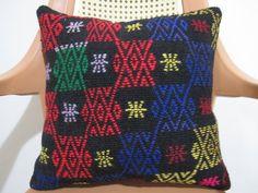 Turkish lace Pillow 16 x 16  Anatolian Embroidery kilim pillow case Home Decorative Kilim pillow