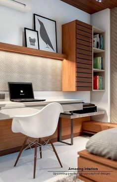 Home office with overhead lighting and brown wood accent. Modern home office with wooden shelves and cabinets. Grey and brown home office. Study Table Designs, Study Room Design, Library Design, Home Office Design, Home Office Decor, Home Decor, Office Ideas, Office Designs, Office Table Design
