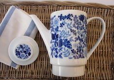 Vintage Melitta blue and white coffee pot German porcelain