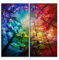 Pintura de paisaje original horizonte bosque arte multi color de abrigo de la…