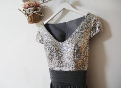 Grey Bridesmaid DressSequin Bridesmaid Dress by FashionStreets