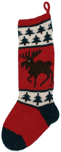Handmade on the Coast of Maine, this heirloom Christmas stocking features a rich brown moose knit on a red background with green pine tree borders.