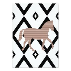 Brown horse - Abstract geometric pattern - black. Card - patterns pattern special unique design gift idea diy