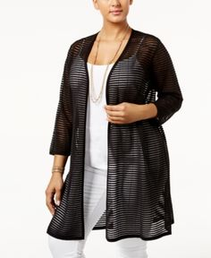 Alfani Plus Size Sheer-Stripe Open-Front Cardigan, Only at Macy's - Black 0X