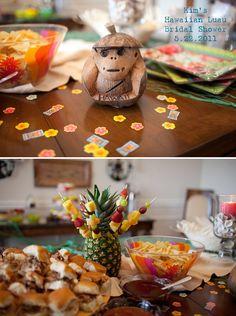 Fête and Festive Events:  Hawaiian Luau Bridal Shower Table Details