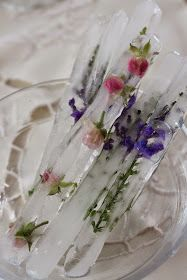 Lavender and miniature rose ice sticks