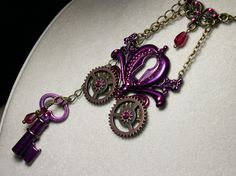 Cinderella's Purple Pumpkin Coach Necklace, Fuchsia Pink Skeleton Key Keyhole Charm Steampunk Victorian Choker, Titanic Temptations Jewelry