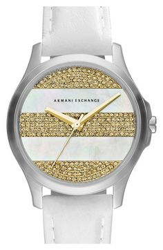 Women's AX Armani Exchange Pave Stripe Dial Watch, 36mm