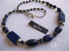 Chunky Royal Blue Lapis Lazuli and Sterling Silver Necklace - SET - by Julleen Jewels