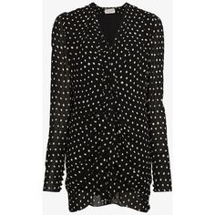 Saint Laurent Silk Ruffle Polka Dot Mini-Dress (40,245 MXN) ❤ liked on Polyvore featuring dresses, black, mini dress, silk dress, silk mini dress, short dresses and short polka dot dress
