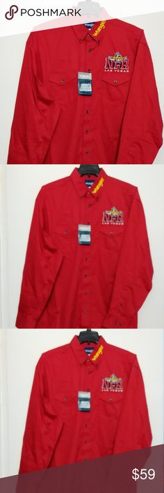c8c78600 Wrangler-Pro-Rodeo-Las-Vegas-2015-Size XL Tall Brand-New-Wrangler-Pro-Rodeo -Las-Vegas-2015-PRCA-NFR-Shirt Size: XL Tall Red Long sleeves Button front  Button ...