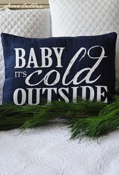 Image of Baby It's Cold 12x16 Pillow Cover in Navy