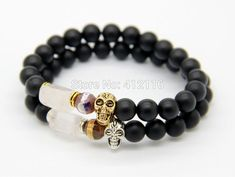 Cheap yoga bracelet, Buy Quality bracelet designer directly from China designer bracelet Suppliers: Ailatu New Products Retail Christmas Gift 8MM Lava stone Beads Gold & Silver Skull Yoga Bracelets Party GiftUSD 5.58/pie