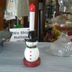 New listing. Wood snowman electric candle for sale in our Etsy shop. Nationwide shipping. Get your vintage on!