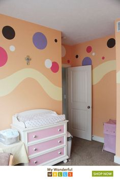 Ideas For Baby Nursery Diy Girl Polka Dots Boy Toddler Bedroom, Baby Nursery Diy, Girls Bedroom, Budget Nursery, Diy Baby, Nursery Ideas, Polka Dot Room, Polka Dot Walls, Polka Dots