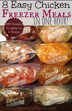 No time to prepare dinner on some nights? I have you covered with 8 of the Easiest Chicken Freezer Meals prepared in one hour.  Includes a FREE printable shopping list and recipes!
