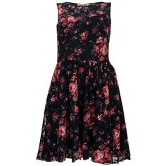 Parisian Navy Floral Sweetheart Lace Dress ($21) found on Polyvore