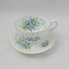 Vintage Tea Cup and Saucer by Stanley with Forget-me-not Blue